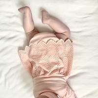Set - kanten jurk  met boomer - roze