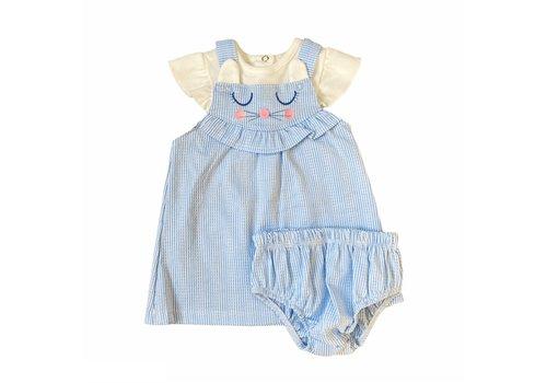 Set - blauw jurkje met boomer