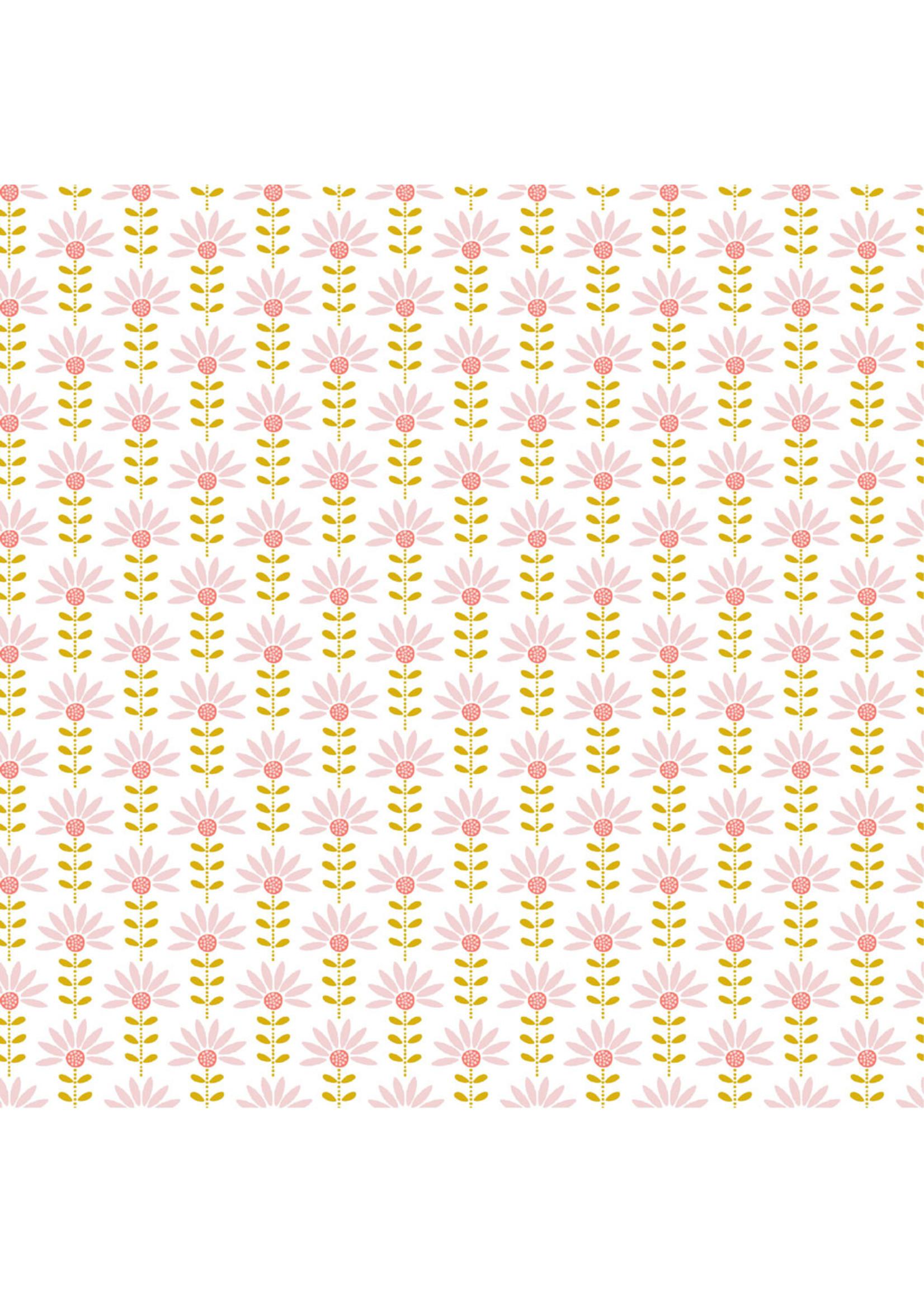 Poppy Graphic Flower White Poplin