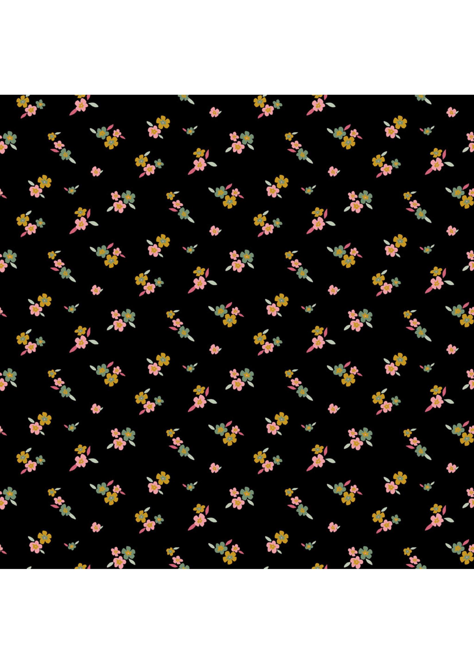 Poppy Lovely Flowers Jersey (GOTS) Black