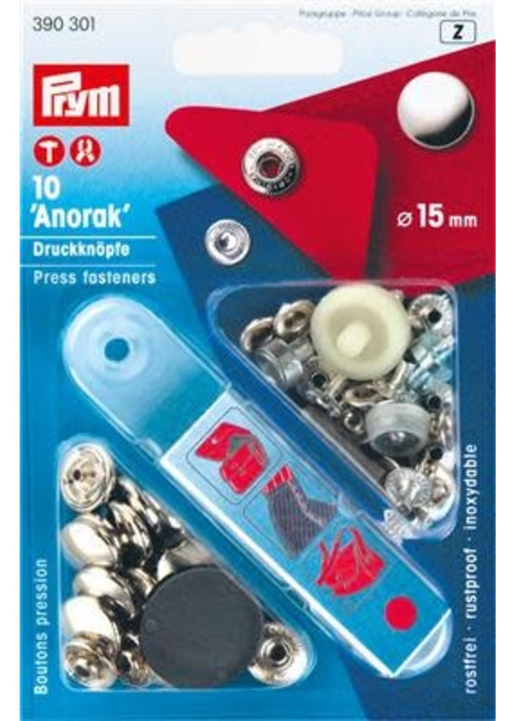 Prym Prym Naaivrijdrukknoop Anorak 15mm - zilver