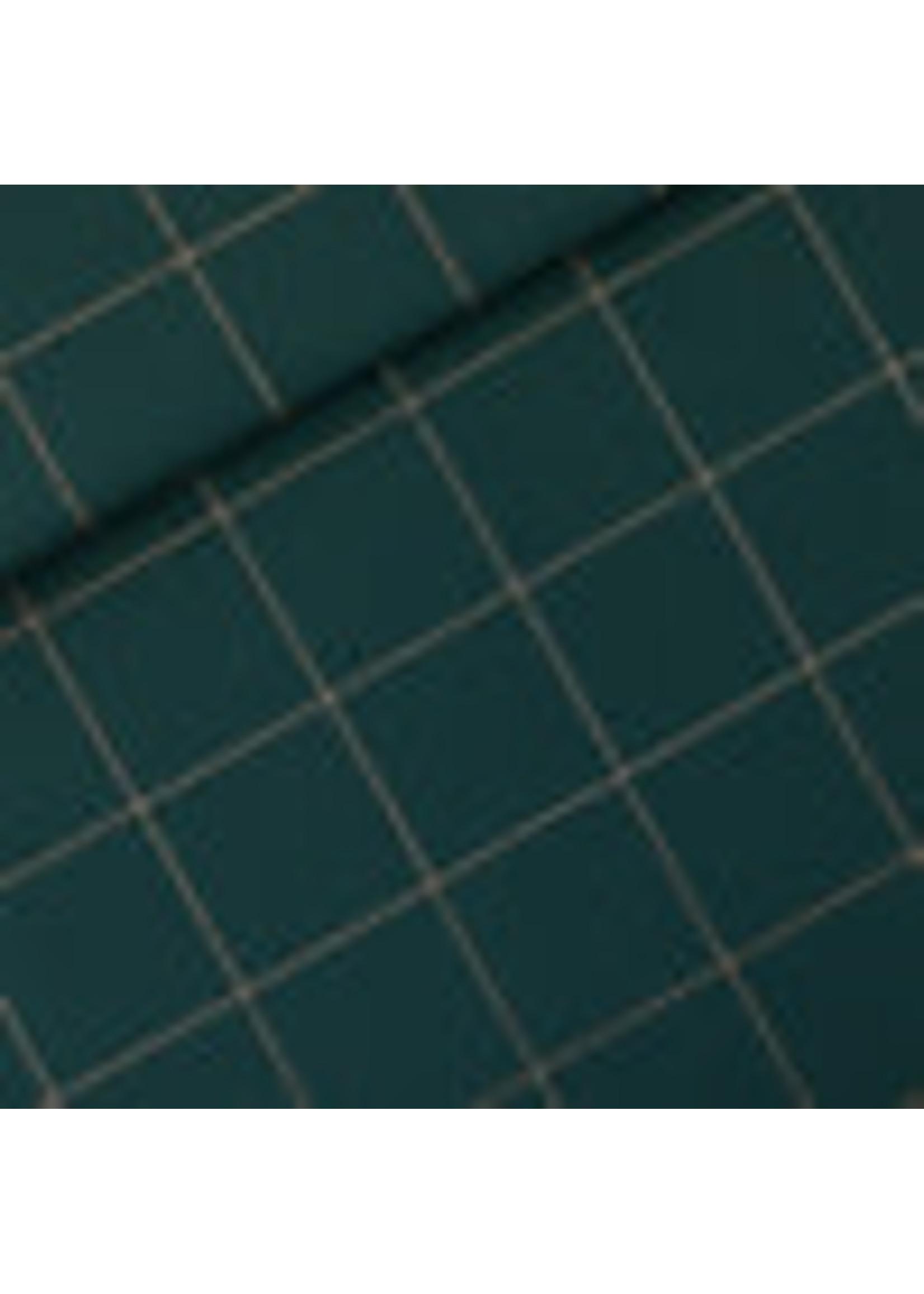 See You At Six Thin Grid - Katoen Canvas Gabardine Twill - Green Gables