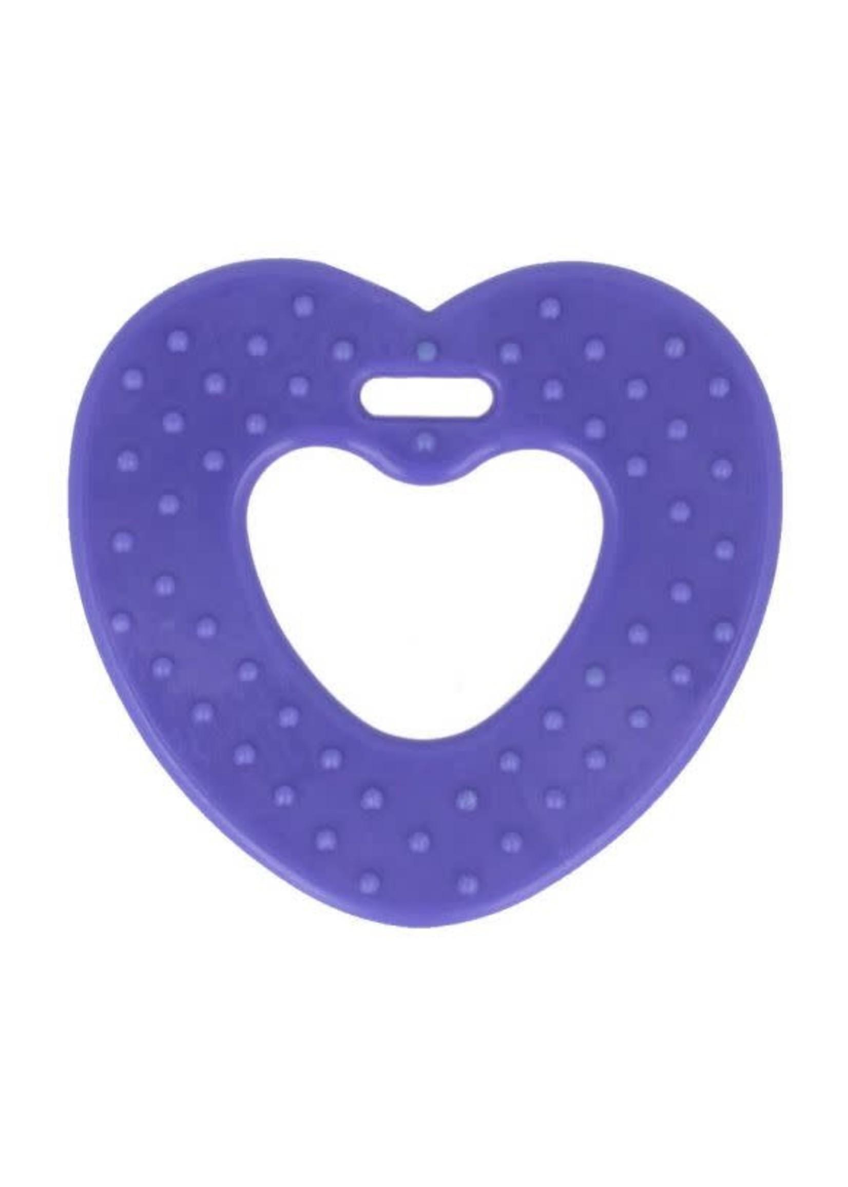 Bijtring hart met noppen 65mm - paars