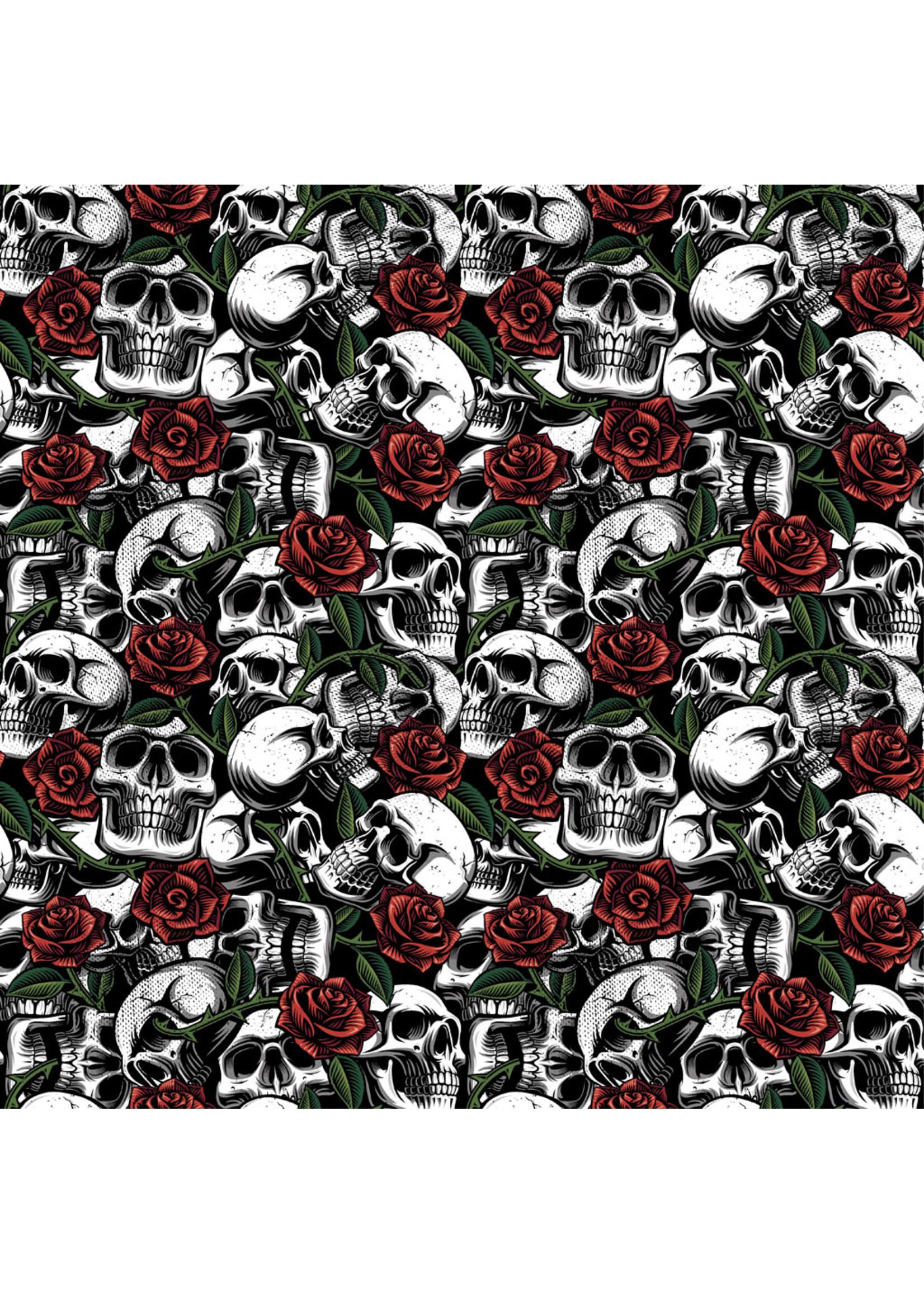 Poppy Skulls with Roses Poplin