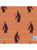 About Blue Fabrics Penguins Bedtime - French Terry