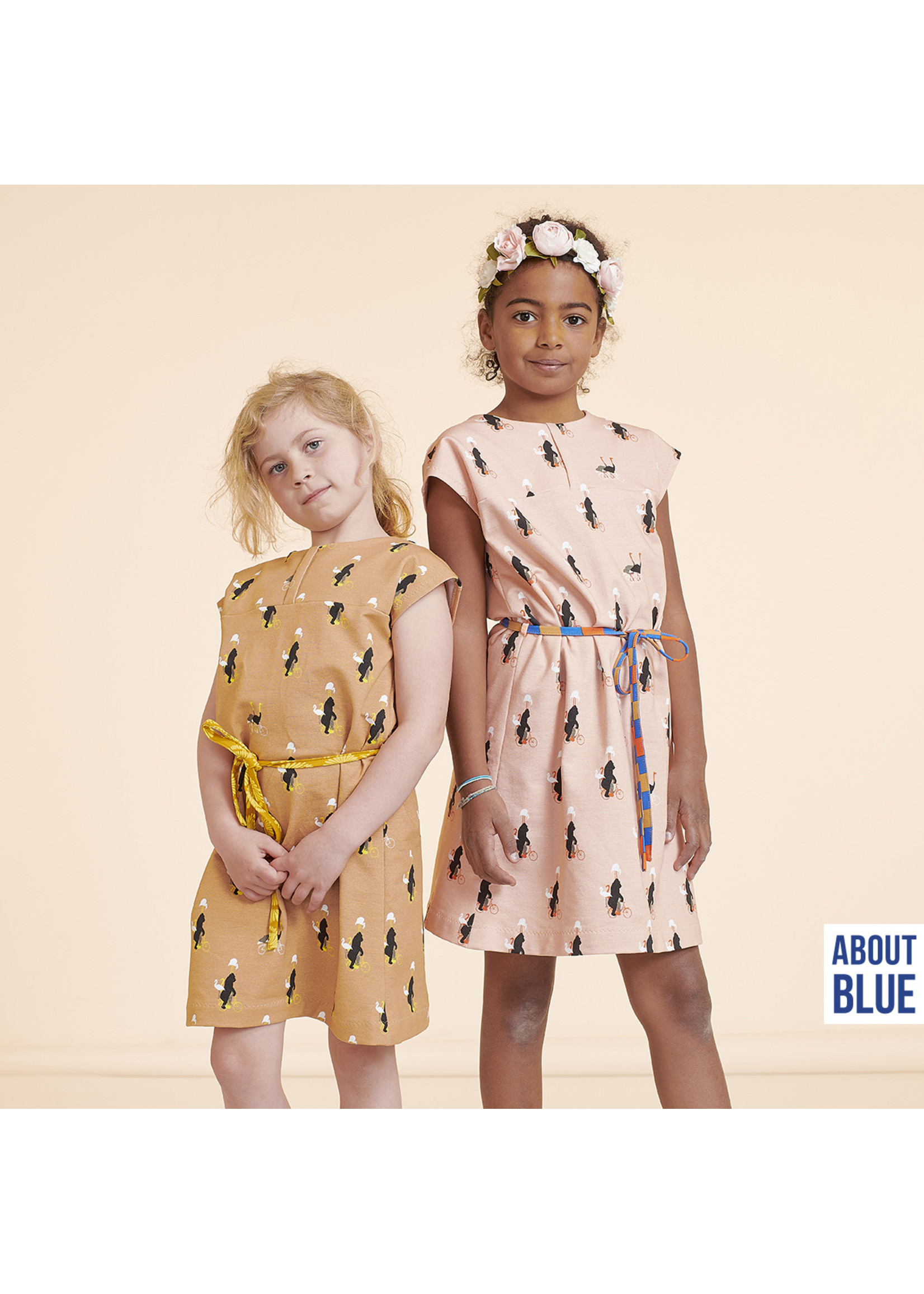 About Blue Fabrics Zoo on Wheels Indian Tan - French Terry