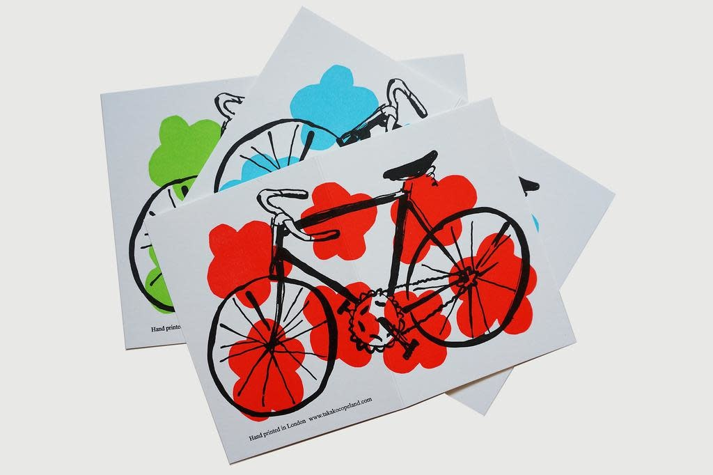 Takako Copeland Letterpress Greeting cards with bicycle