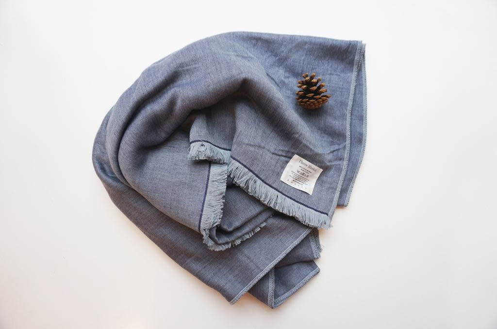 Kontex - Cotton and wool chambray Throw blanket, blue grey