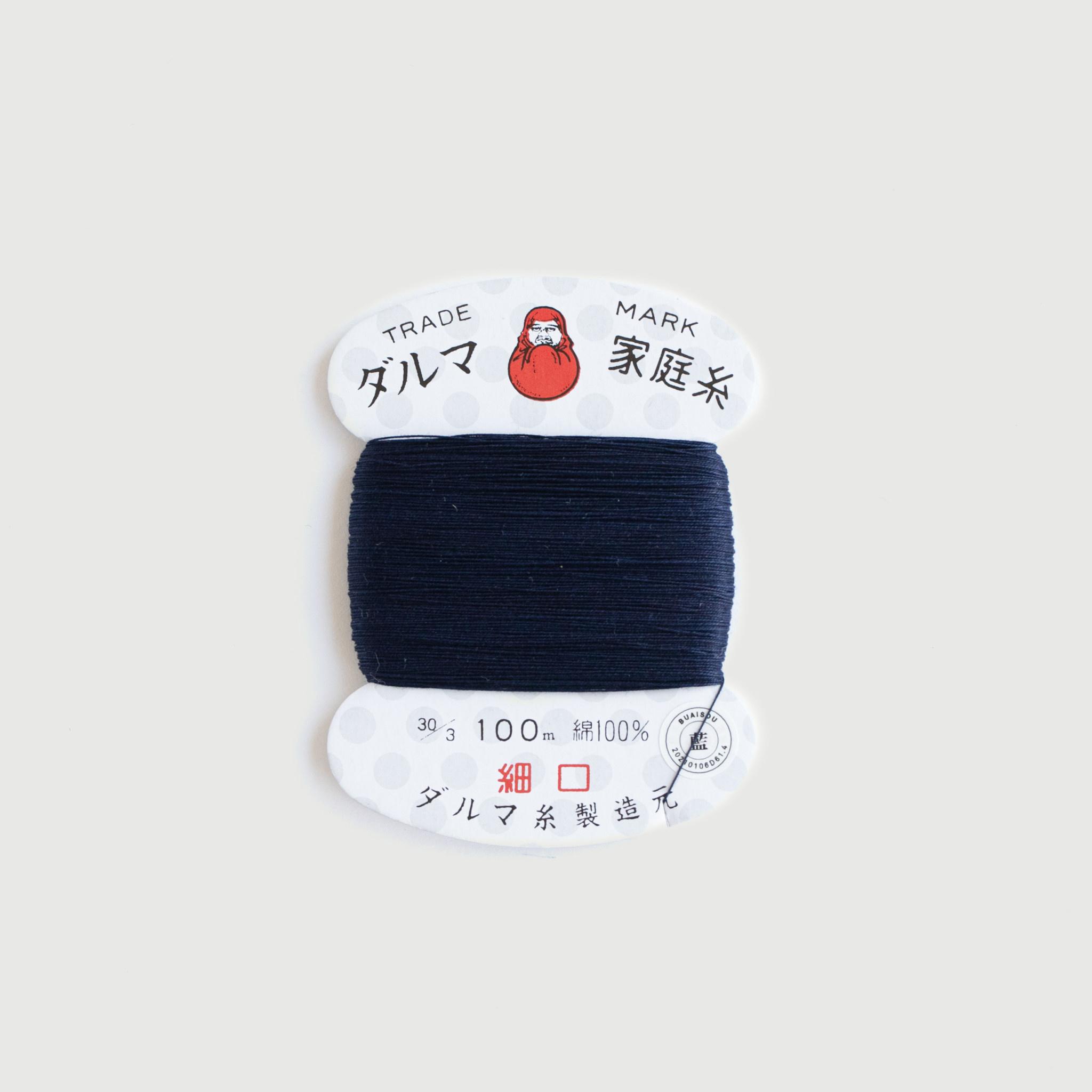 buaisou Buaisou Indigo Dyed Daruma-Ito Home Thread #30 (Thin) for Hand Sewing 100% Cotton 100m