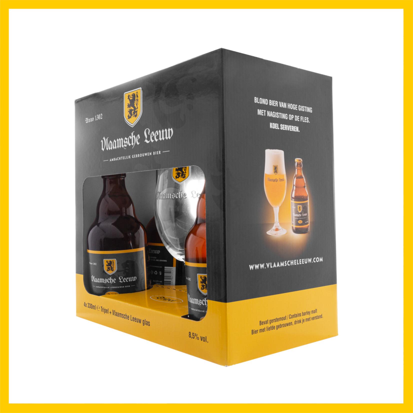 Surprisebox Vlaamsche Leeuw 4 flesjes & 1 glas