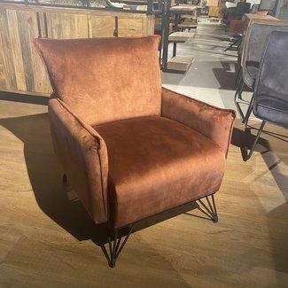 Luxe fauteuil velvet koper