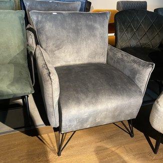 Luxe fauteuil velvet grijs