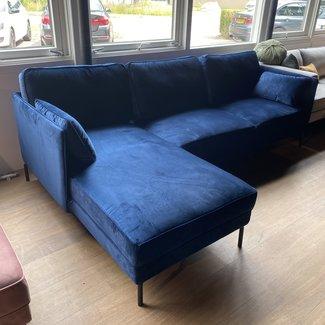 Hoekbank velvet blauw links