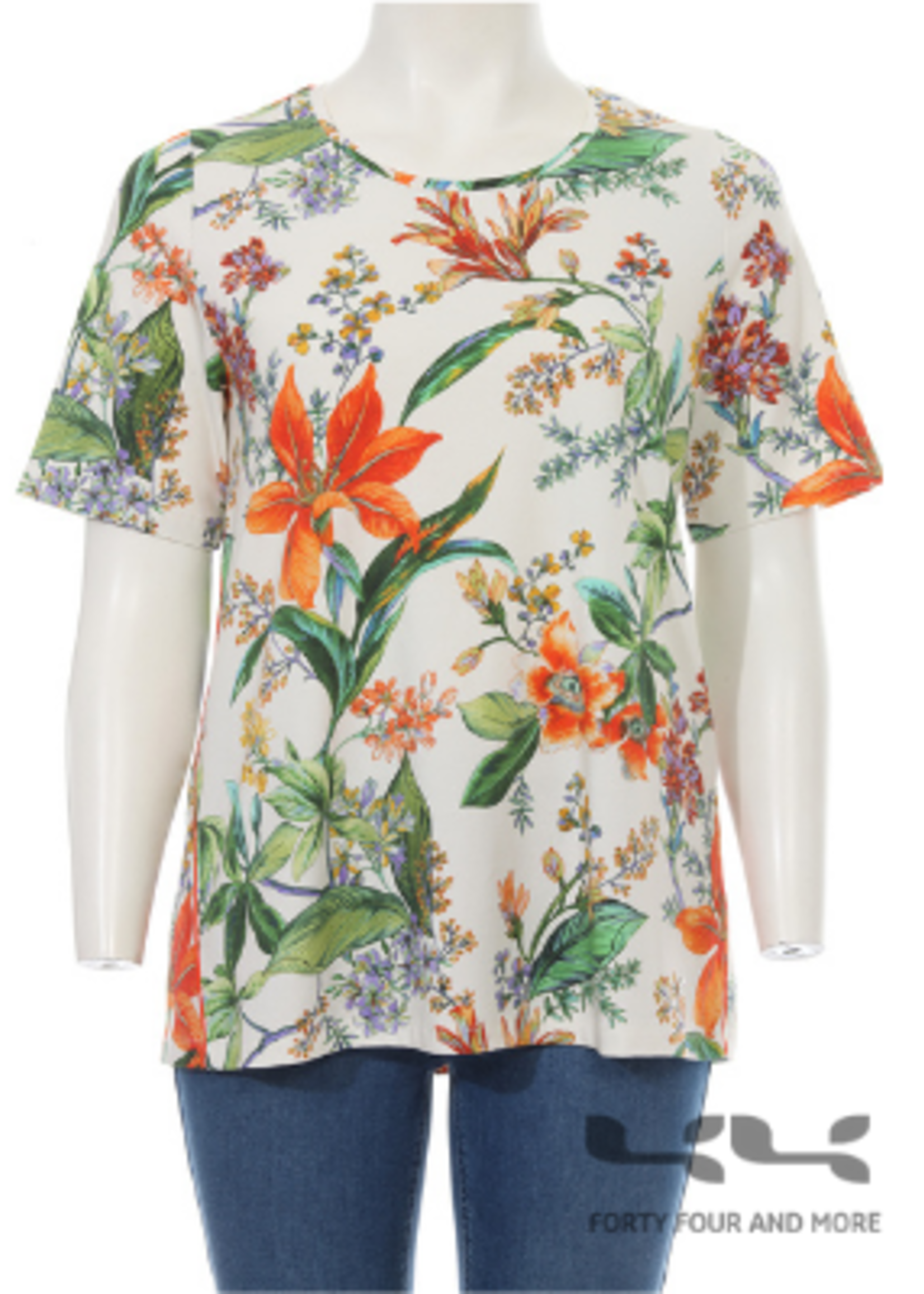 Frapp Shirt botanische print, ronde hals, korte mouw (2102 401)