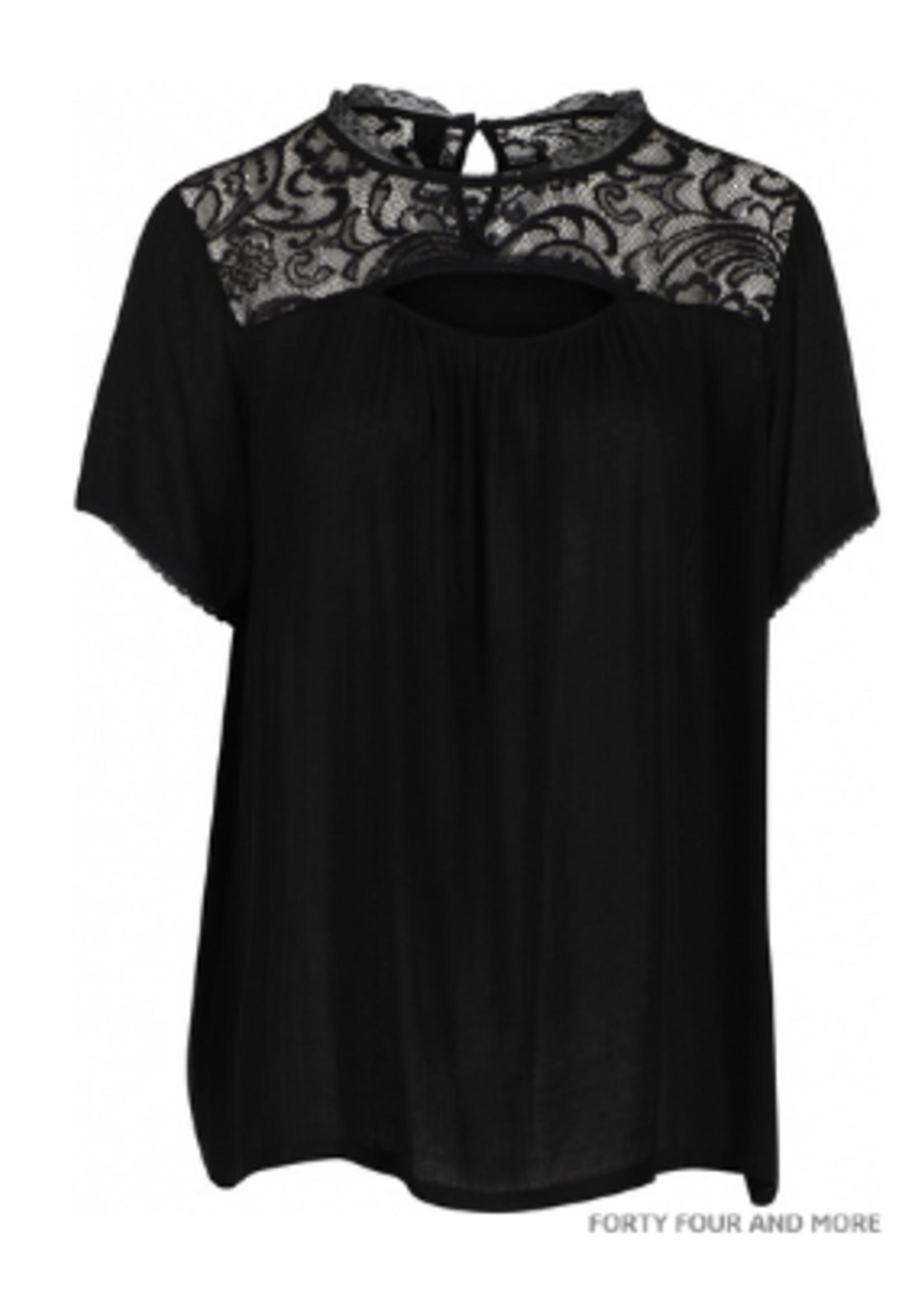 Adia AD3021 viscose blouseje, kanten schouderpas, peephole