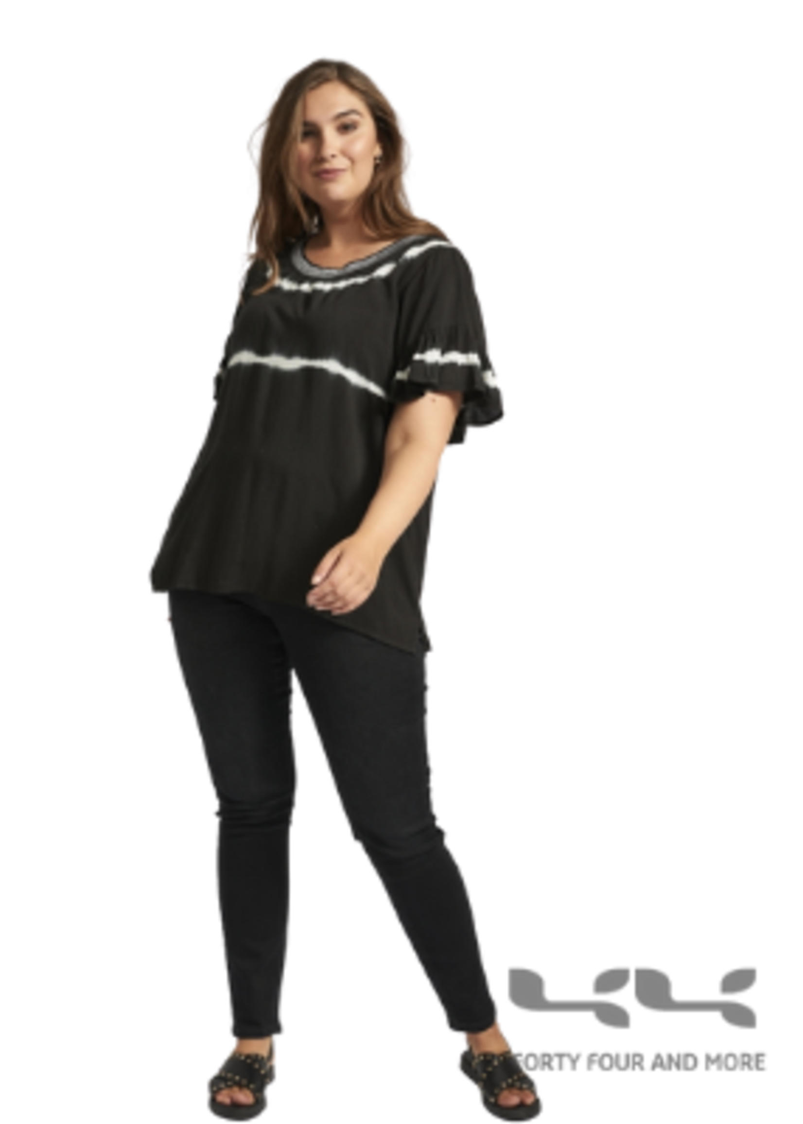 Adia Blouse, zwart batik streep