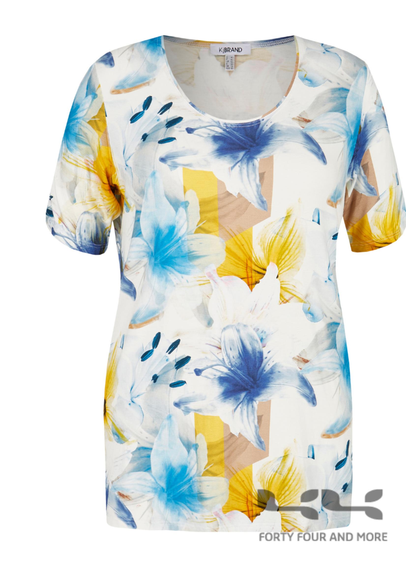 KJBrand Shirt, ronde hals, korte mouw, floraal wit/blauw/geel