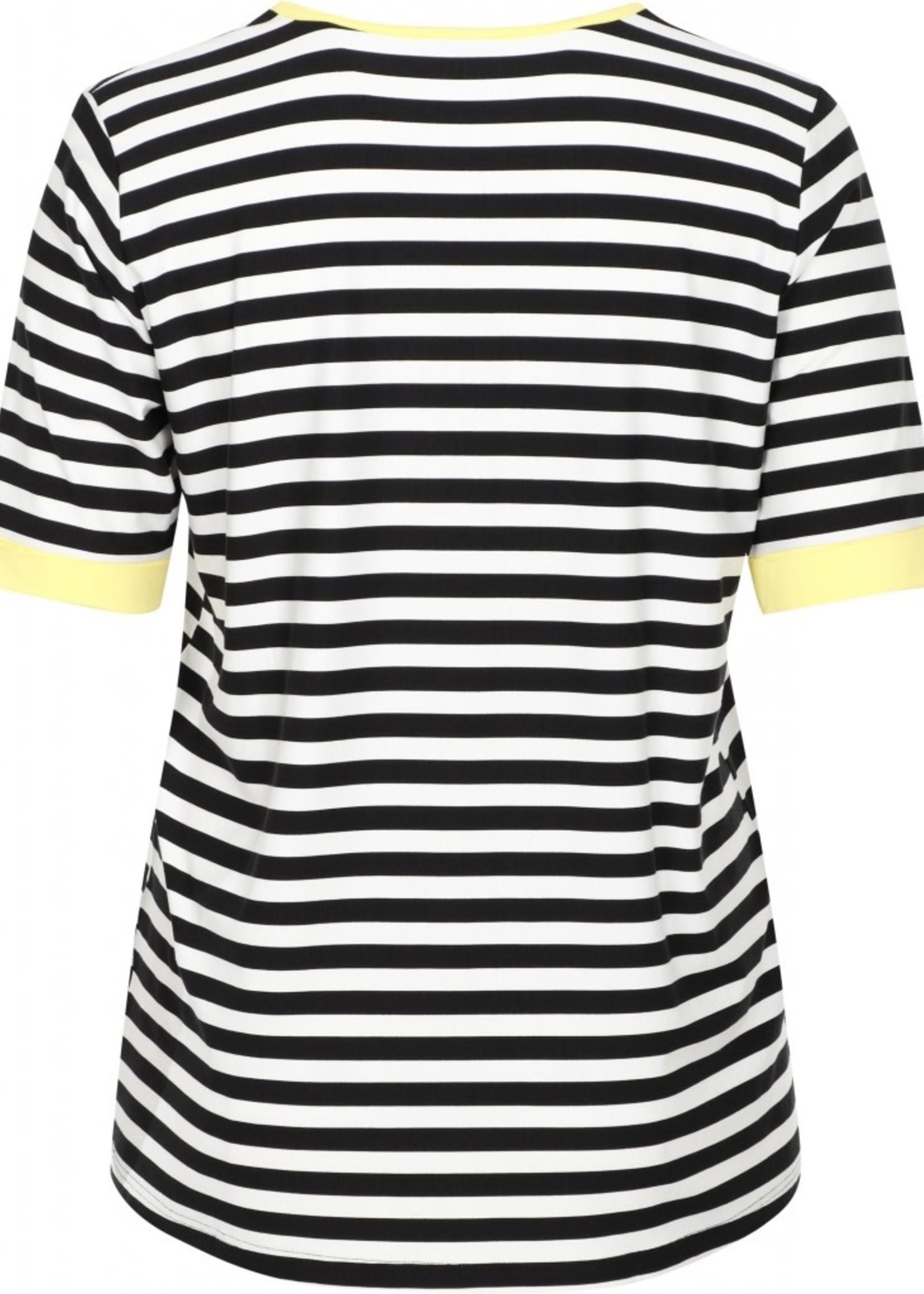 Chalou Shirt CH8659, gestreept met gele biezen
