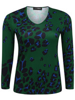 Doris Streich Shirt V-hals, kleurijke panterprint