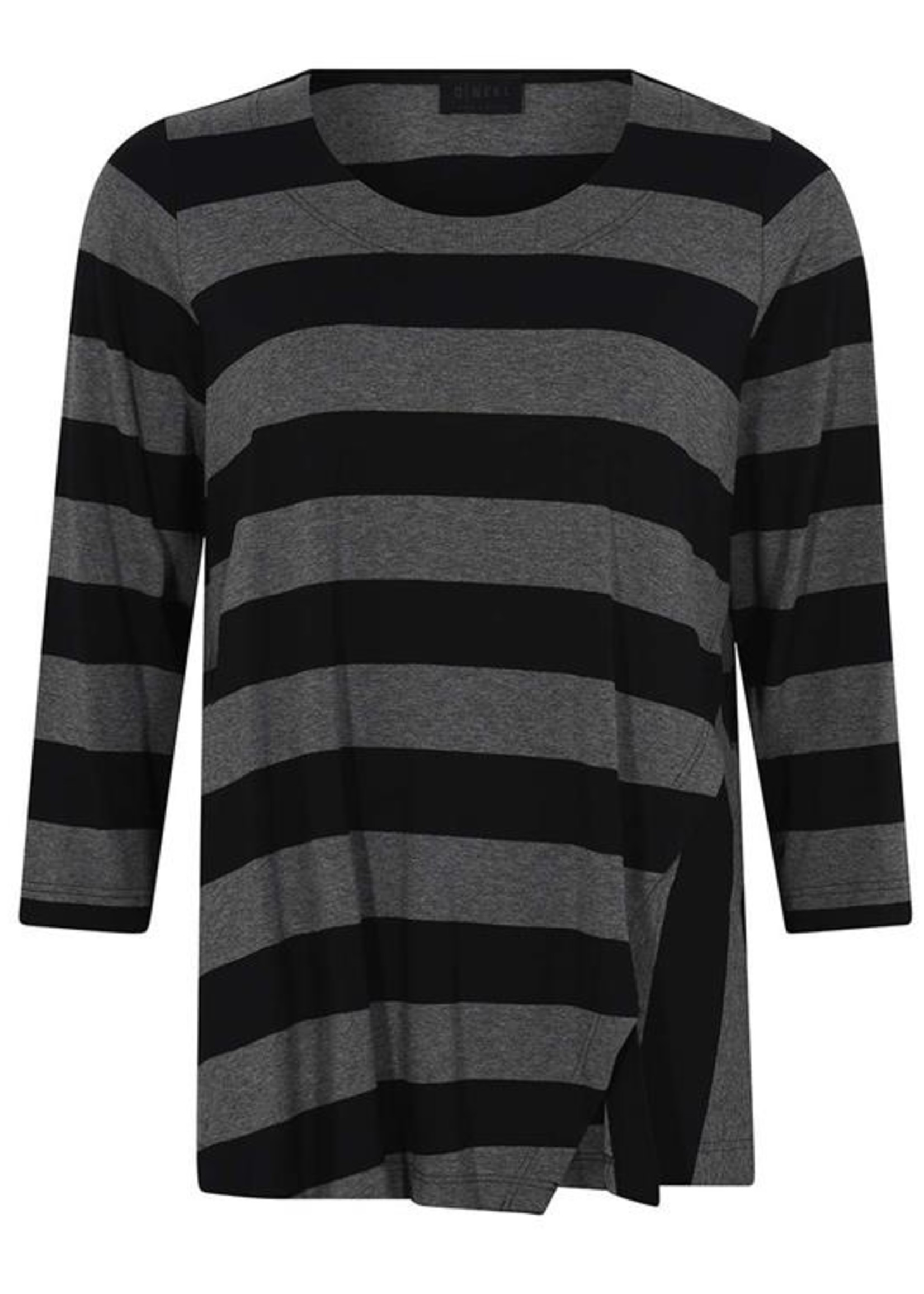 Qneel Q'neel shirt grijs / zwart streep (83967 8843)