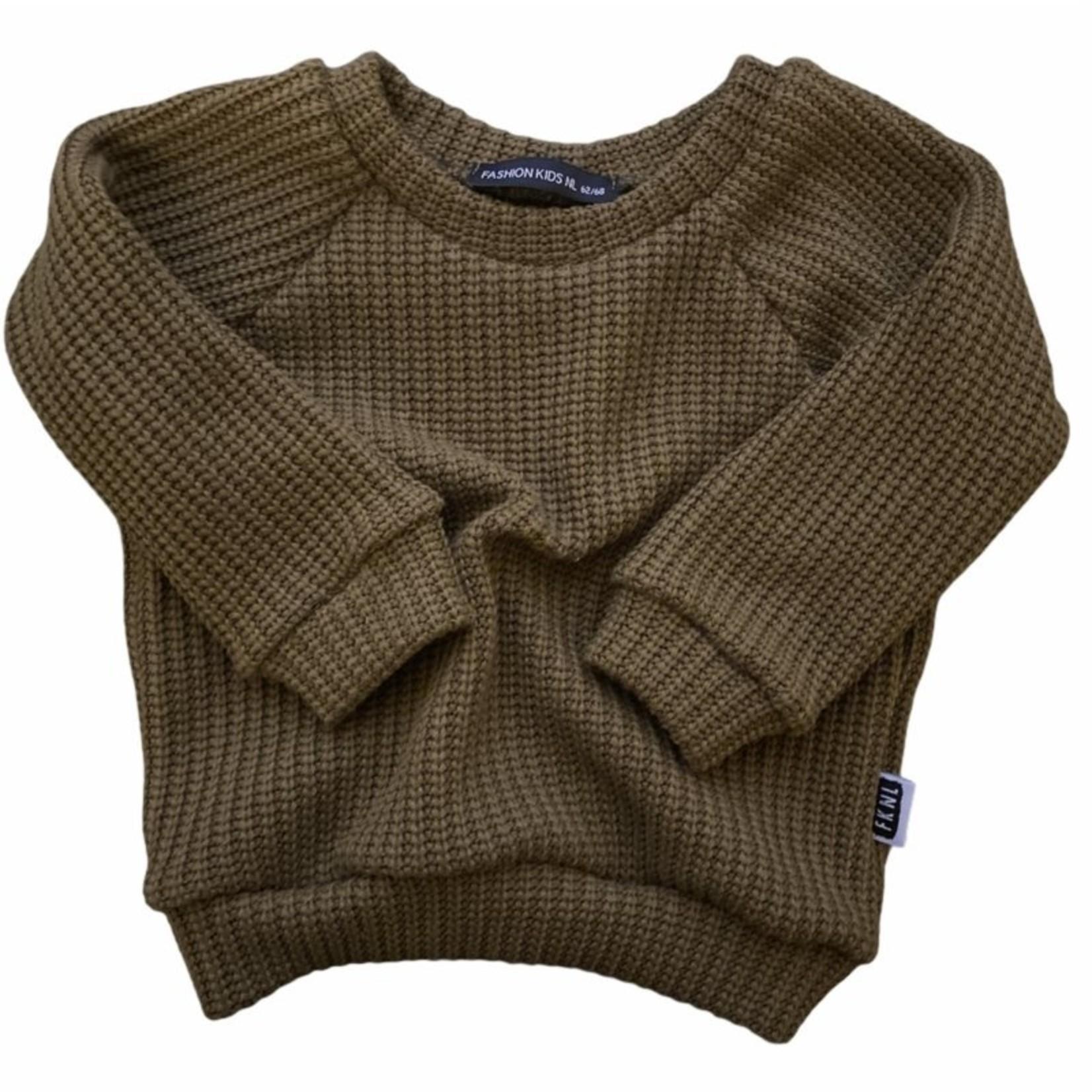 Fashion Kids NL Oversized sweater olijfgroen