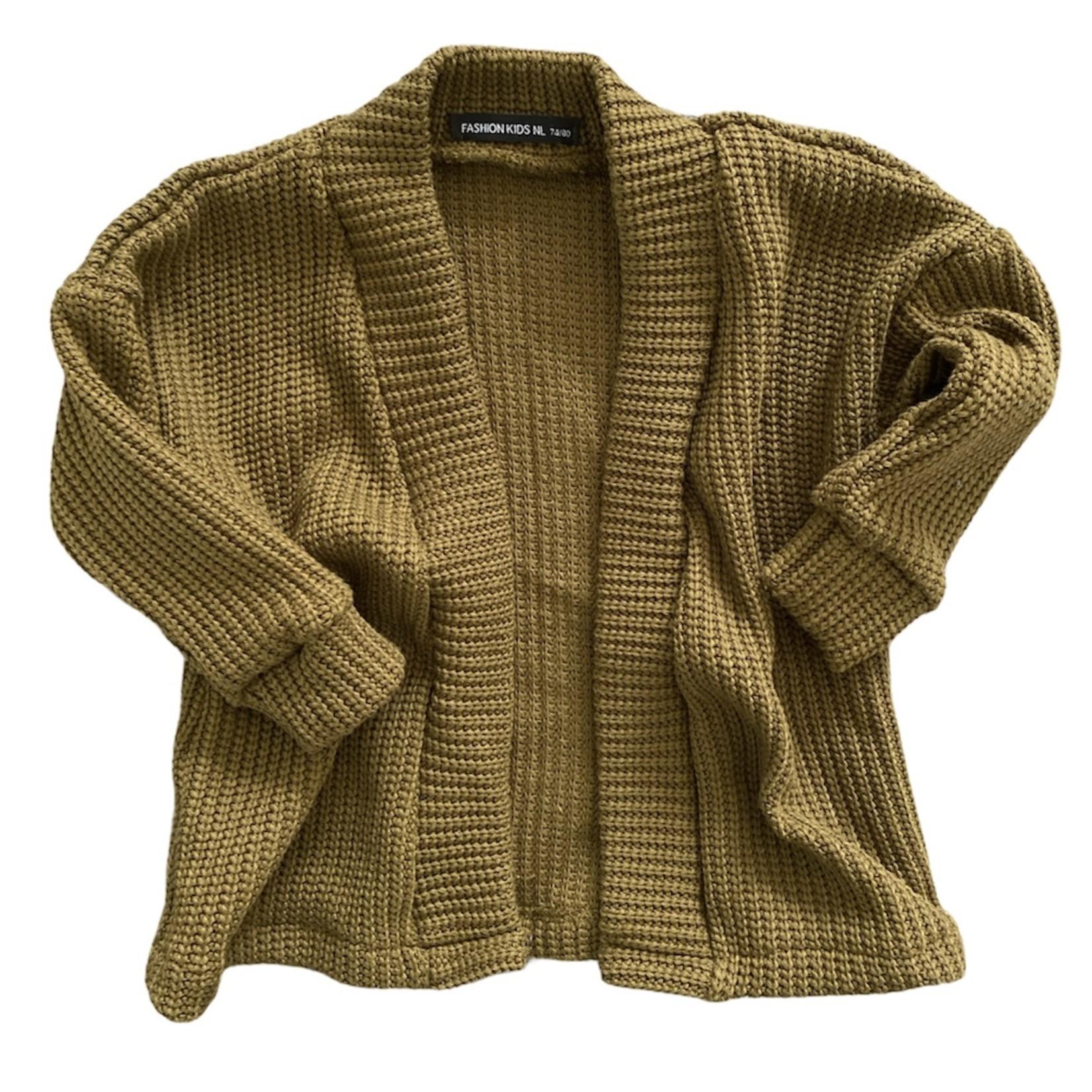 Fashion Kids  Oversized knit vest  olijfgroen  I