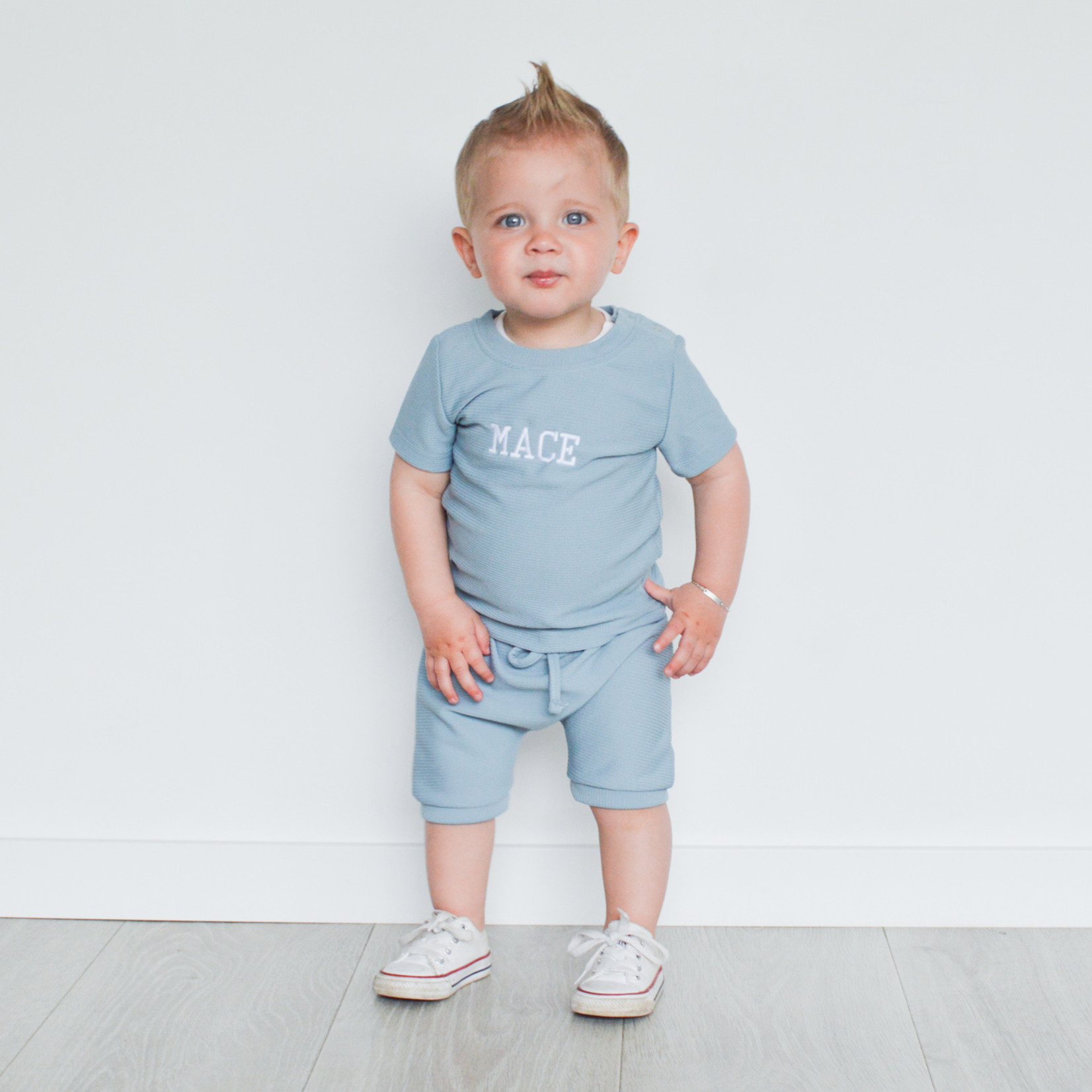Fashion Kids  Blauw  rib geborduurd met naam  - Copy