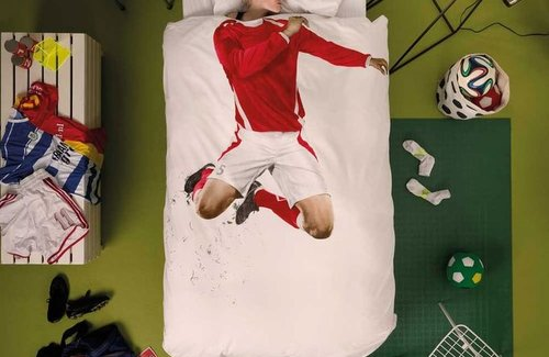 SNURK Soccer Red Dekbedovertrek