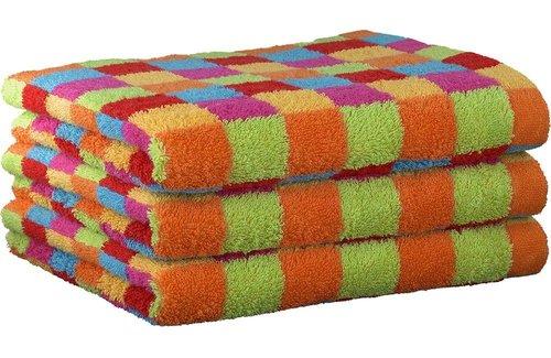 Cawö Lifestyle Karo Multicolor Yellow Handdoek