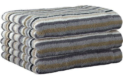 Cawö Lifestyle Stripe Multicolor Pebble Handdoek