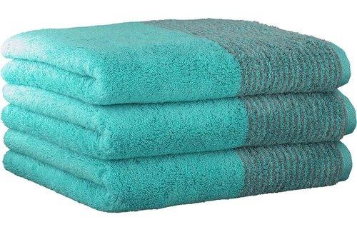 Cawö Two-Tone Turquoise Handdoek