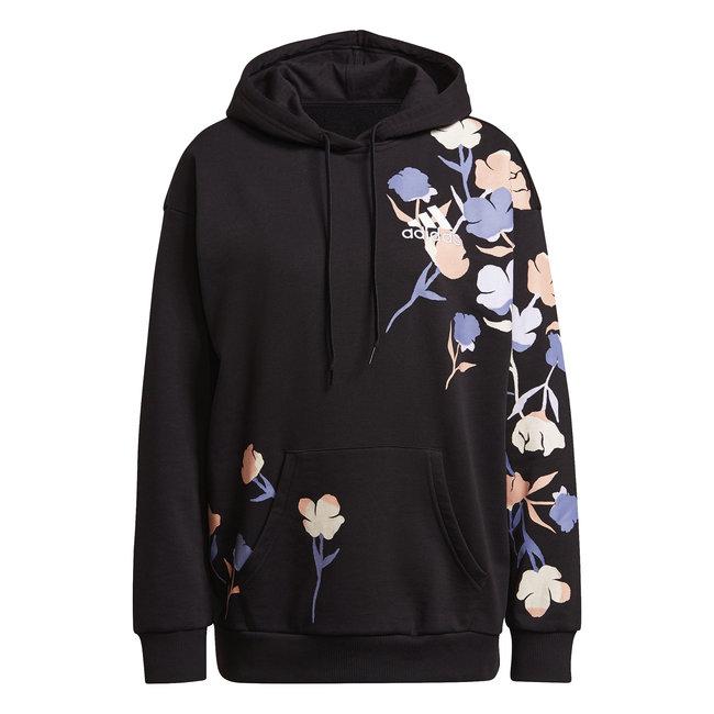 Floral Hoodie W - Black