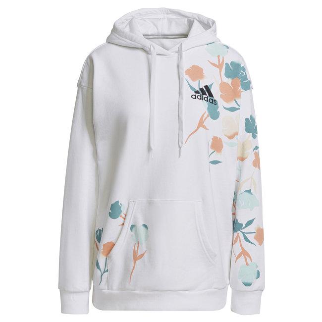 Floral Hoodie W - White
