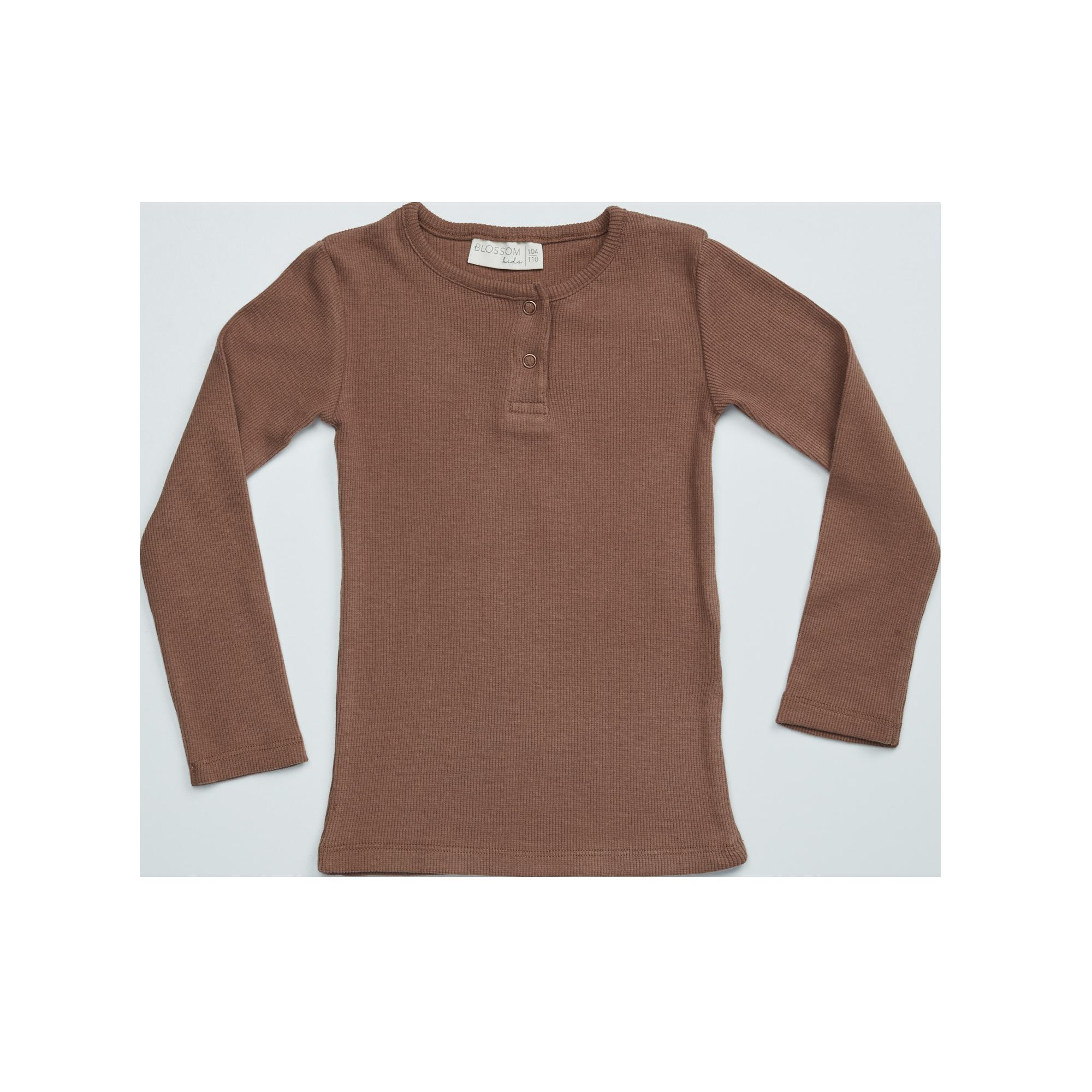 Blossom Kids Long sleeve - soft rib - Smoked Hazelnut-1