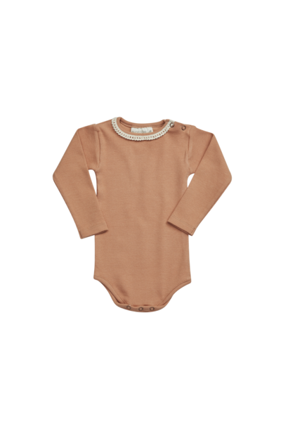 Blossom Kids Body long sleeve with lace - Deep Toffee
