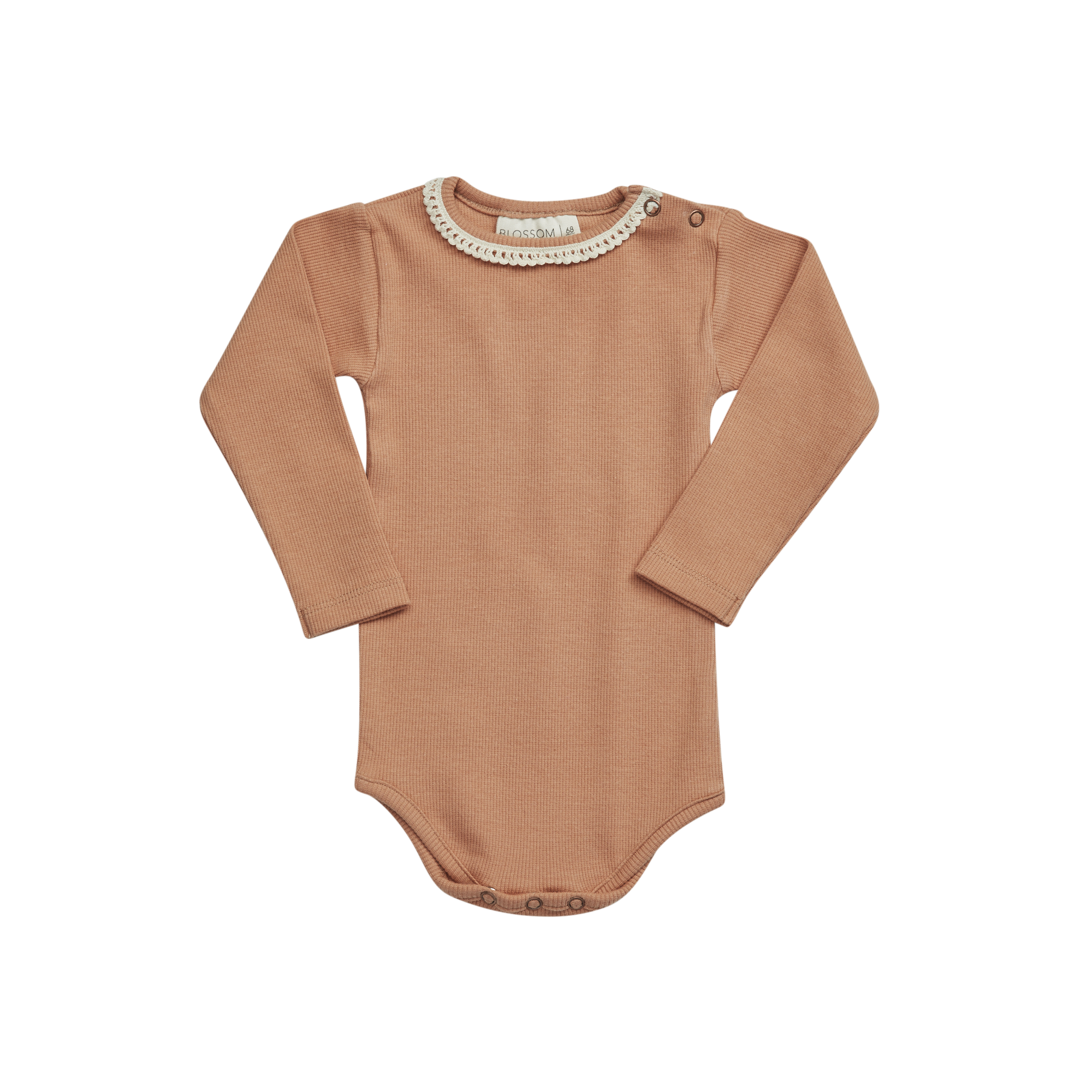 Blossom Kids Body long sleeve with lace - Deep Toffee-1