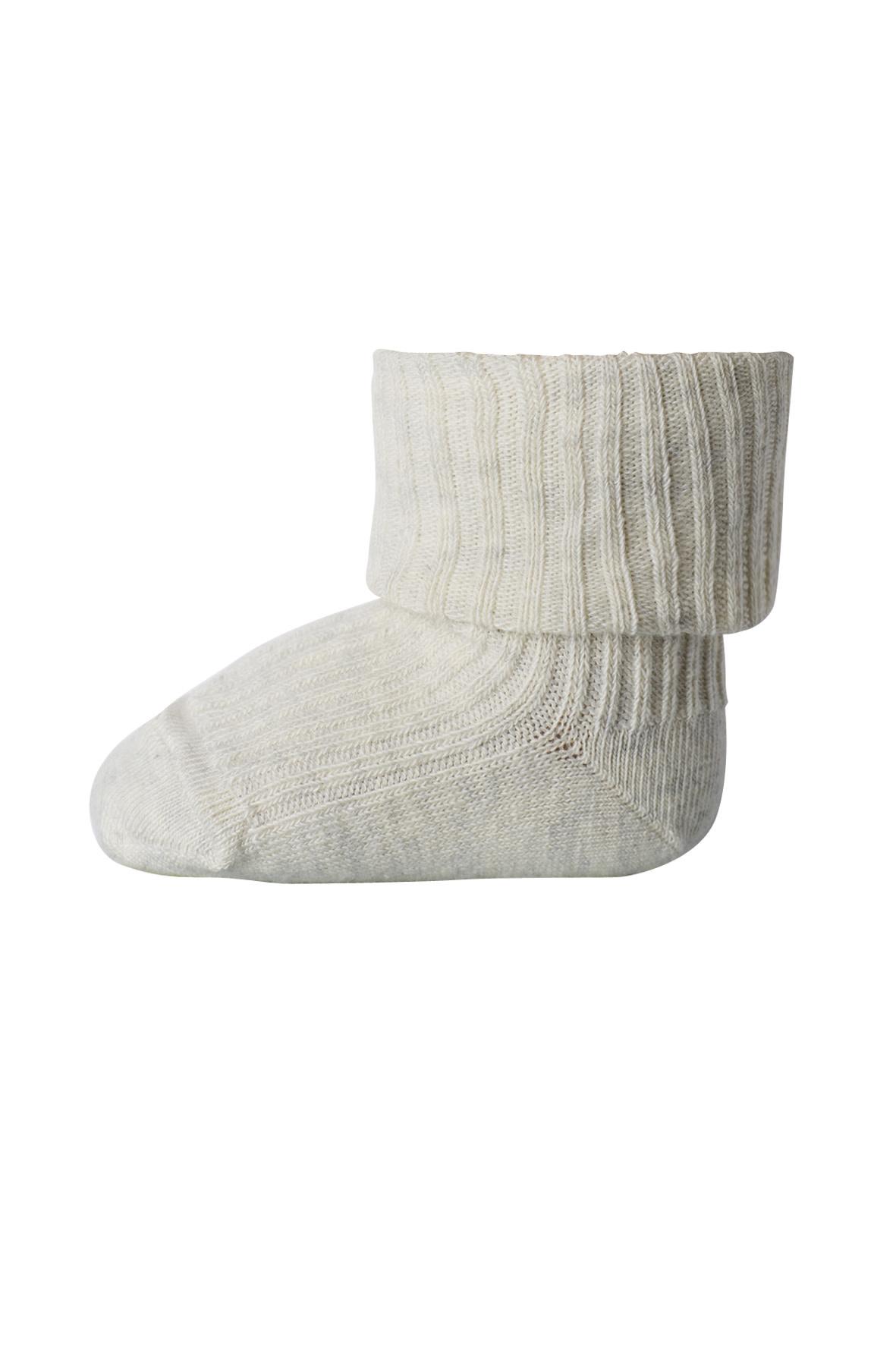 MP Denmark cotton rib sokjes - 499 creme melange-1