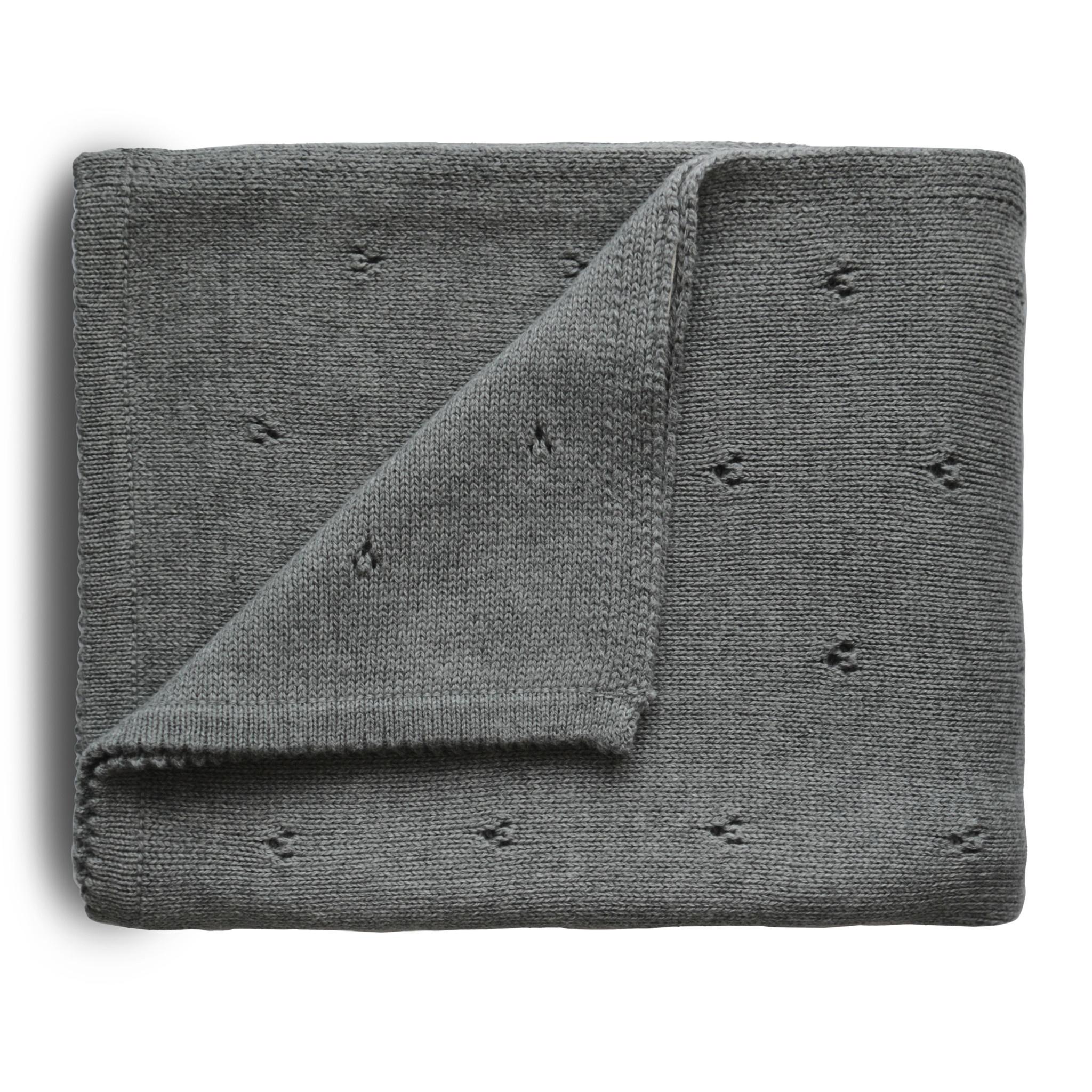 Mushie dekentje pointelle - Grey melange-1