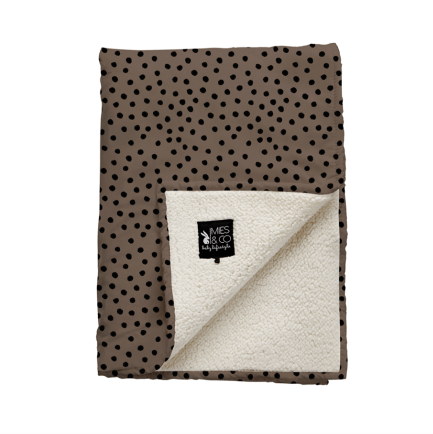Mies & co teddy wiegdeken bold dots dark brown-1