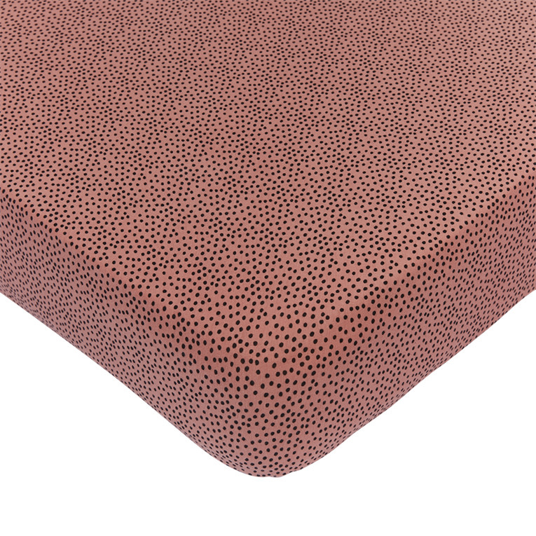 Mies & Co wieg hoeslaken cozy dots redwood-1