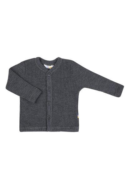 Joha vest rib 100% wol - Dark grey melange