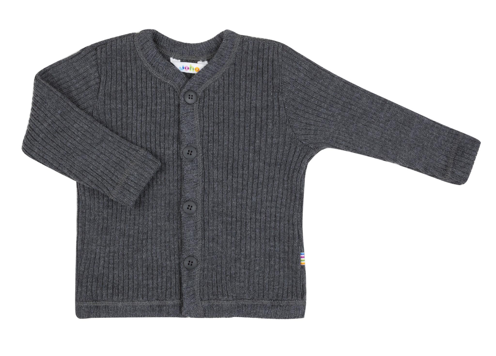 Joha vest rib 100% wol - Dark grey melange-1