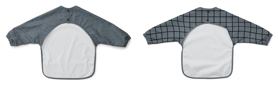 Liewood merle 2 pak slabber met mouwen graphic whale blue mix-2