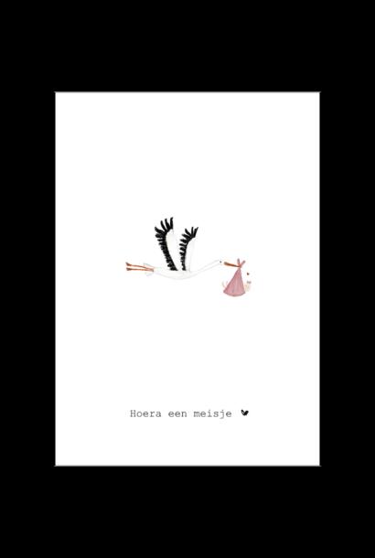 Nadine's illustraties hoera een meisje ooievaar