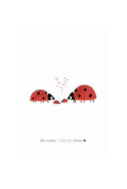Nadine's illustraties wenskaart welcome little ones TWEELING
