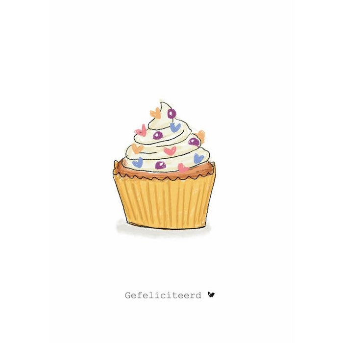 Nadine's illustraties wenskaart gefeliciteerd cupcake-1