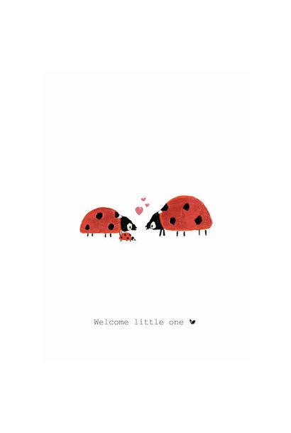 Nadine's illustraties wenskaart welcome little one lieveheersbeestje