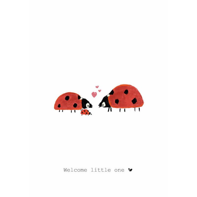 Nadine's illustraties wenskaart welcome little one lieveheersbeestje-1