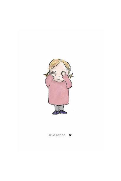 Nadine's illustraties wenskaart kiekeboe meisje