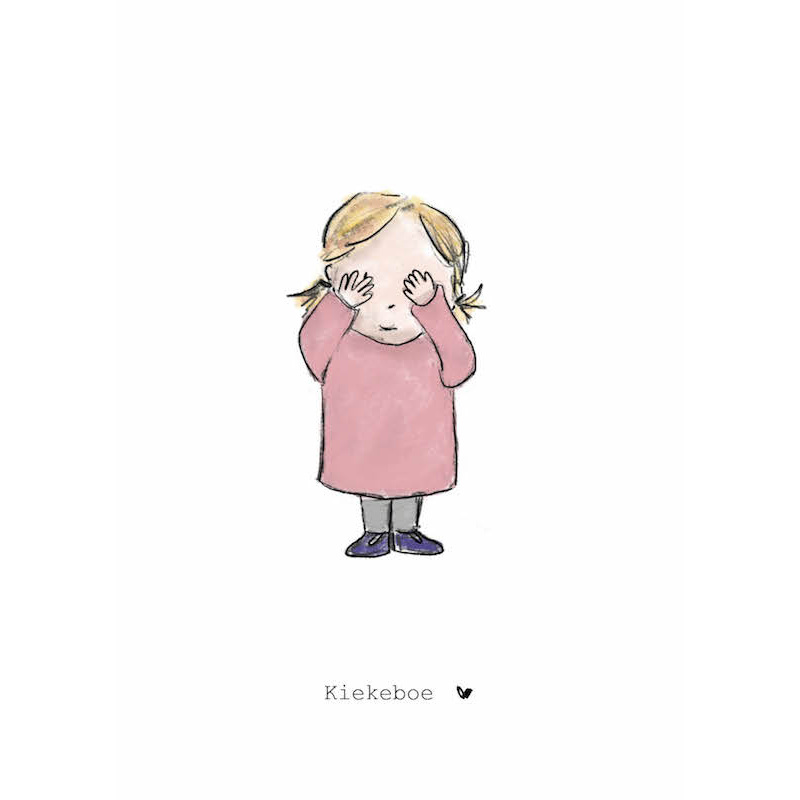 Nadine's illustraties wenskaart kiekeboe meisje-1